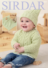 Aran sweater, hat and blanket Sirdar 4829 Digital Download