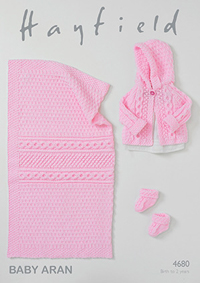 Aran bootees, jacket and blanket Hayfield 4680 Digital Version