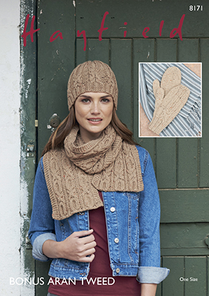Hayfield 8171 aran scarf hat mittens Digital Download