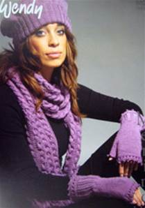 Wristwarmers, hat and scarf Wendy 5529